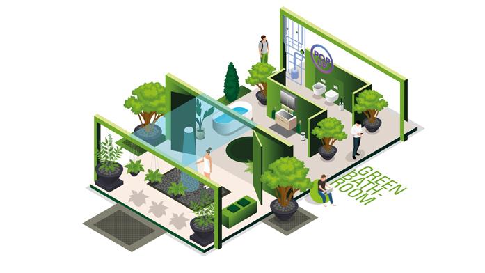 """Online-Fachmesse rund ums Bad: Green Bathroom: Ressourcen-Schonung und ein Gefühl von Naturnähe gehen im """"Green Bathroom"""" dank nachhaltiger Produkte und neuer Gestaltungsoptionen zusammen"""