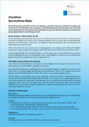 Checkliste Barrierefreie Bäder