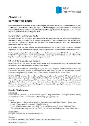 """Die """"Checkliste Barrierefreie Bäder"""" listet die wichtigsten Anforderungen an Sanitärräume in Wohnungen laut DIN 18040-2 auf."""